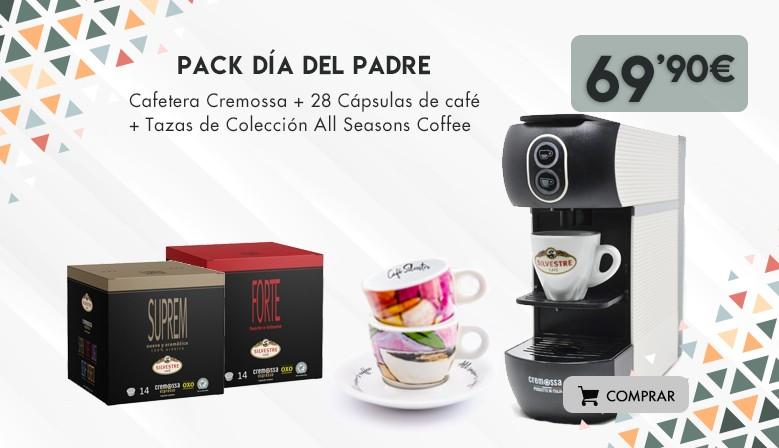 Pack Día del Padre: Cafetera Cremossa + 28 cápsulas + Tazas de colección